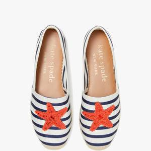 Kate Spade New York Women's Uptown Stripe Espadrilles - Cream/Squid Ink