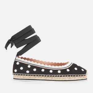 Kate Spade New York Women's Knottingham Knitted Espadrilles - Black/Optic White