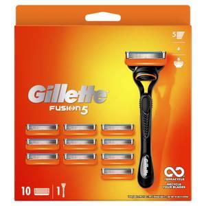 Gillette Fusion Value Pack, Razor + 10 Razor Blades