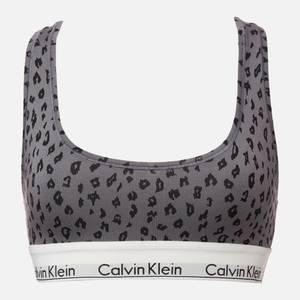 Calvin Klein Women's Cheetah Print Unlined Bralette - Pewter
