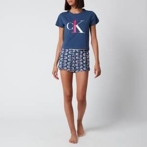 Calvin Klein Women's Logo Short Sleeve Pyjama Set - Seahorse Blue
