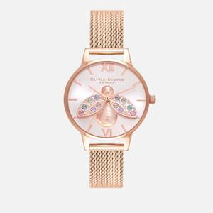 Olivia Burton Women's Rainbow Bee Sunray Mesh Watch - Rose Gold