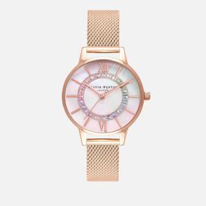 Olivia Burton Women's Wonderland Rainbow Mesh Watch - Rose Gold