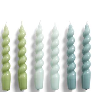 HAY Candle Spiral Set of 6 - Green/Blue/Teal