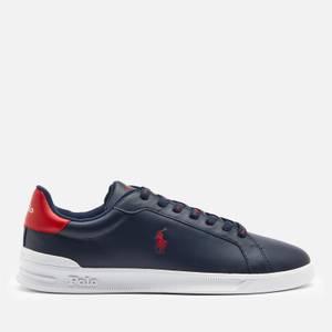 Polo Ralph Lauren Men's Heritage Court Leather Low Top Trainers - Newport Navy/Red