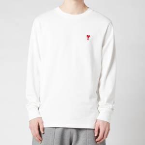 AMI Men's De Coeur Long Sleeve T-Shirt - White