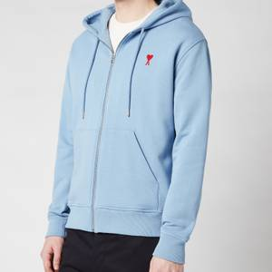 AMI Men's De Coeur Zip Through Hoodie - Light Blue