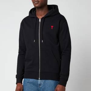 AMI Men's De Coeur Zip Through Hoodie - Black