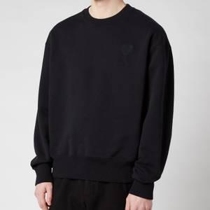AMI Men's De Coeur Tonal Crewneck Sweatshirt - Black