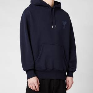AMI Men's De Coeur Tonal Hooded Sweatshirt - Navy