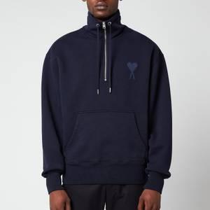 AMI Men's De Coeur High Collar Sweatshirt - Navy