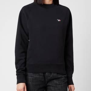 Maison Kitsuné Women's Tricolor Fox Patch Sweatshirt - Black