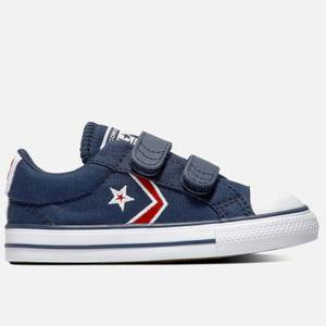 Converse Toddlers' Star Player Embroidered Ox Velcro Trainers - Obsidian/University Red