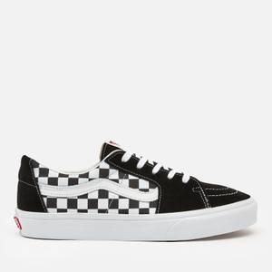 Vans Men's Canvas/Suede Sk8-Low Trainers - Black/Checkerboard