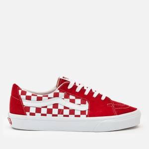 Vans Men's Canvas/Suede Sk8-Low Trainers - Red/Checkerboard