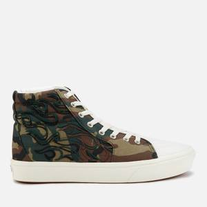 Vans Comfycush Flame Emroidery Sk8 Hi-Top Trainers - Woodland/Marshmallow