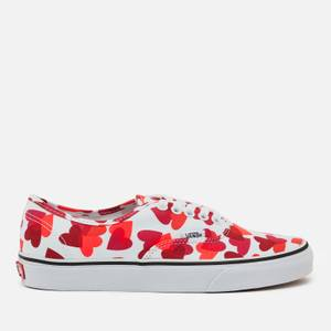 Vans Women's Valentines Hearts Classic Authentic Trainers - White/Pink/Red