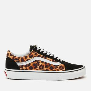 Vans Women's Leopard Old Skool Trainers - Black/True White