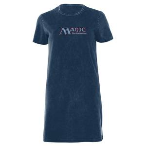 Magic The Gathering Logo Robe T-Shirt Femme - Bleu Marine Délavé