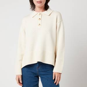 Whistles Women's Button Front Polo Knit - Ivory