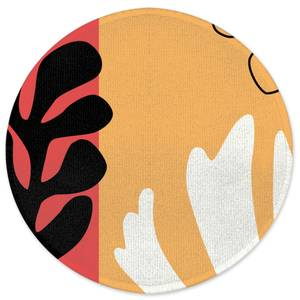 Abstract Warm Leaves Round Bath Mat