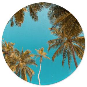 Earth Friendly Palm Trees Round Bath Mat