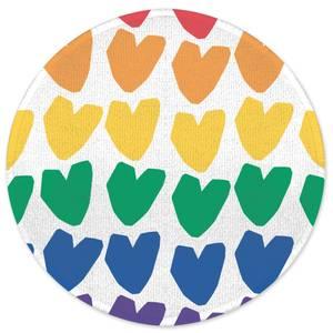 Earth Friendly Rainbow Hearts Round Bath Mat