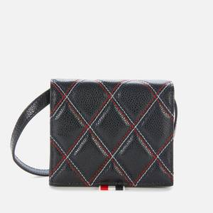 Thom Browne Women's Quilted Card Holder with Shoulder Strap - Black