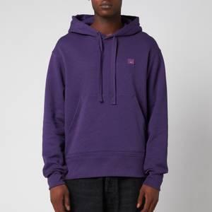 Acne Studios Men's Face Logo Melange Hooded Sweatshirt - Electric Purple