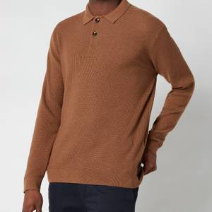 Ted Baker Men's Batha Long Sleeve Knitted Polo Shirt - Camel