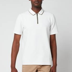 Ted Baker Men's Flamin Zip Neck Textured Polo Shirt - White