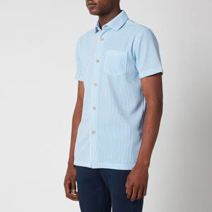 Ted Baker Men's Ramenn Vertical Stripe Jersey Short Sleeve Shirt - Blue