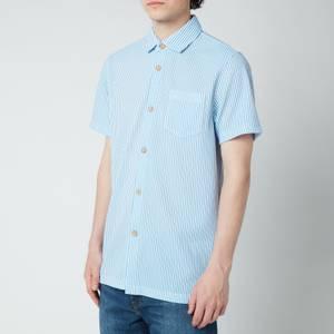 Ted Baker Men's Ramenn Vertical Stripe Jersey Short Sleeve Shirt - Blue