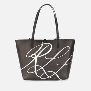 Lauren Ralph Lauren Women's Reversible Script Logo Medium Tote Bag - Black/Antique Gold