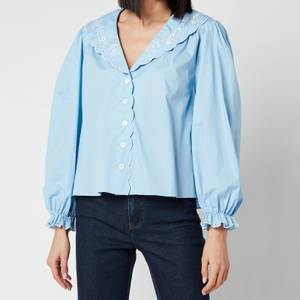 RIXO Women's Darcy Embroidered Collar Cotton Blouse - Blue Cotton