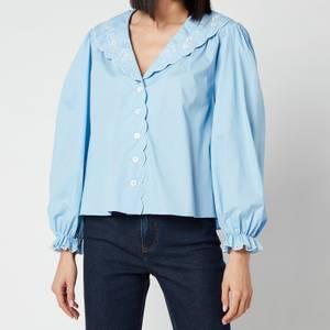 RIXO Women's Darcy Embroidered Collar Cotton Blouse - Blue Cotton
