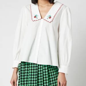 RIXO Women's Lila Embroidered Collar Cotton Blouse - Ivory Cotton