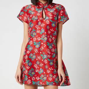 RIXO Women's Lolita High Neck Mini Dress - Garden Party Red