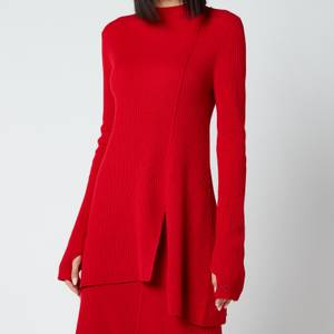 KENZO Women's Asymmetrical Tunic Jumper - Medium Red