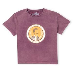 Marvel Variance Authority Women's Cropped T-Shirt - Burgundy Acid Wash