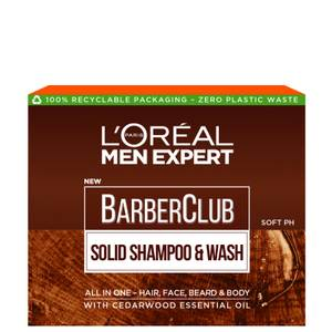 L'Oréal Paris Men Expert Barber Club Solid Shampoo and Wash Bar for Hair, Face, Beard and Body 80ml