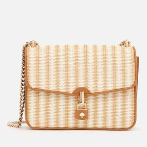 Kate Spade New York Women's Locket Straw Large Flap Shoulder Bag - Natural