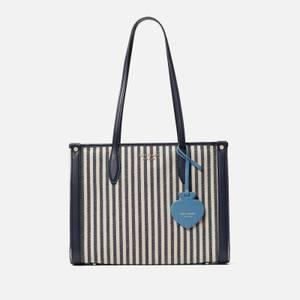 Kate Spade New York Women's Market Stripe Medium Tote Bag - Blue Multi