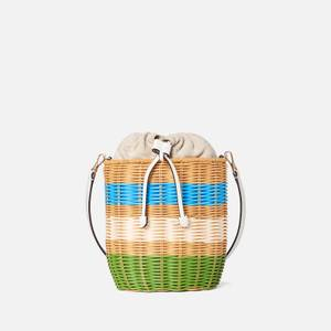 Kate Spade New York Women's Buoy Wicker Medium Bucket Bag - Green Multi