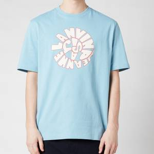 Lanvin Men's Printed Regular T-Shirt - Sky Blue