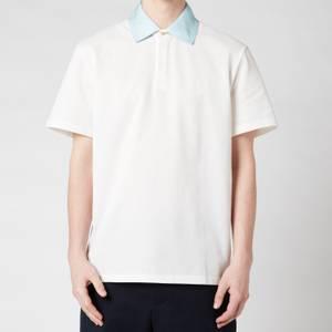 Lanvin Men's Contrast Collar Polo Shirt - Off White