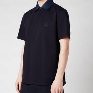 Lanvin Men's Contrast Collar Polo Shirt - Navy Blue