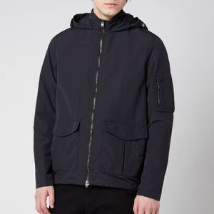 Herno Men's Nylon Washed + Plaster Hooded Bomber Jacket - Blu Navy