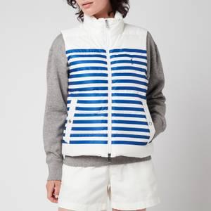 Polo Ralph Lauren Women's Down Filled Vest - White/Blue Stripe