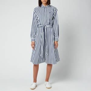 Polo Ralph Lauren Women's Long Sleeve Shirt Dress - Navy/White